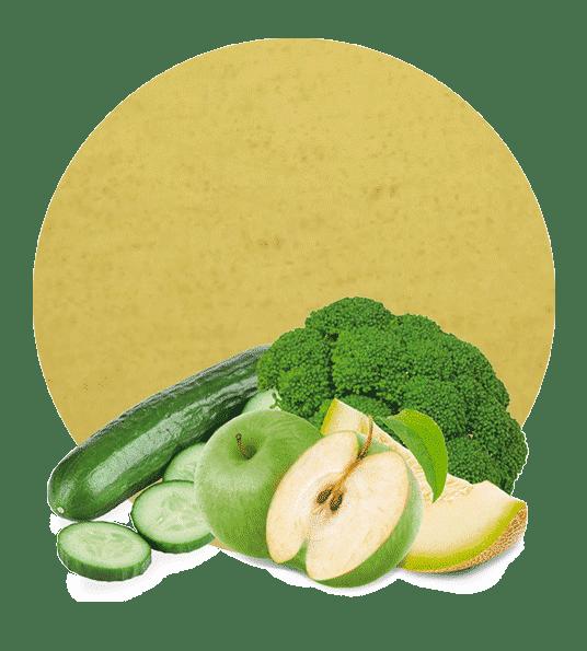 Concentrado de Manzana Verde, Broccoli, Pepino y Melón Verde